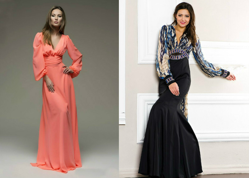 24ed145ad47 Полным девушкам больше идут платья полуприлегающего силуэта с V образным  вырезом и расклешенными рукавами. Очаровательно выглядят и платья в  греческом стиле ...