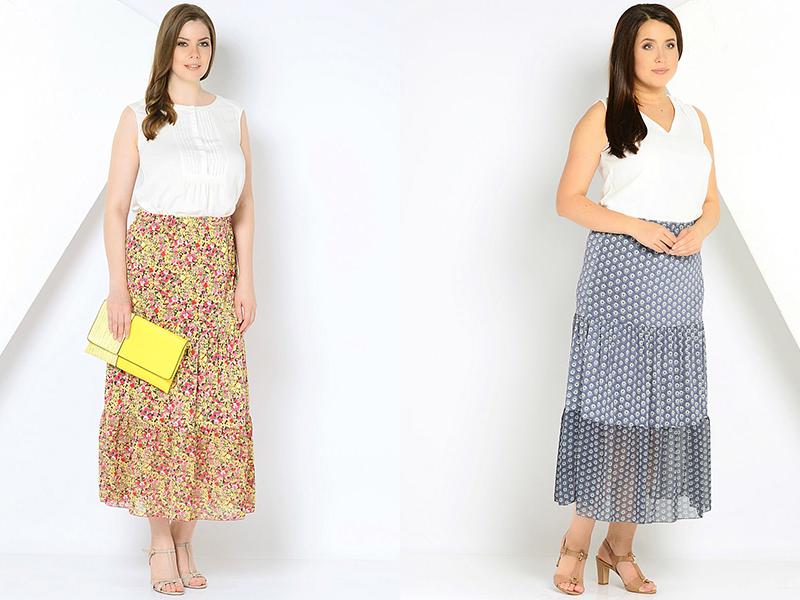976af4adfd8 Эффектные длинные юбки из многоцветных ярусов с чередованием кружева  добавляют рост и изящность силуэту. Для полных женщин юбка макси – просто  находка.