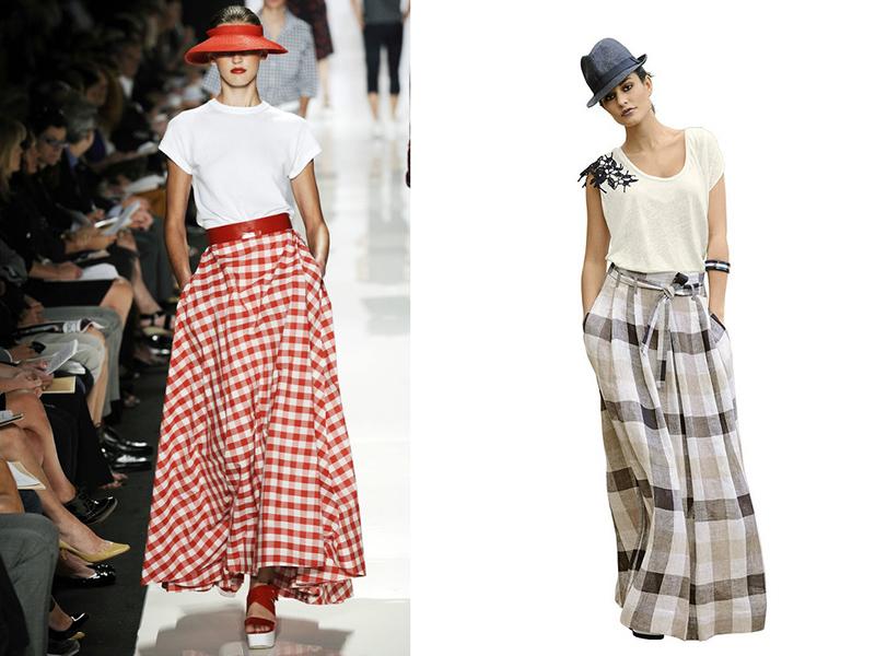 9e1b087d9fe Длинная летняя юбка-солнце из ткани в шахматную красно-белую клетку –  отличная вещь для летнего отдыха. К такой юбке стилисты рекомендуют  подобрать простой ...