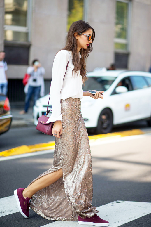 le-fashion-blog-street-style-mfw-sporty-chic-sunglasses-white-top-long-sequined-skirt-crossbody-bag-burgundy-sneakers-via-harpers-bazaar
