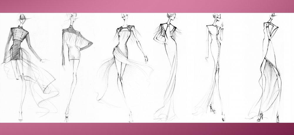 d117b2a7c76 Эскизы платьев для начинающих. Эскизы платьев карандашом для ...