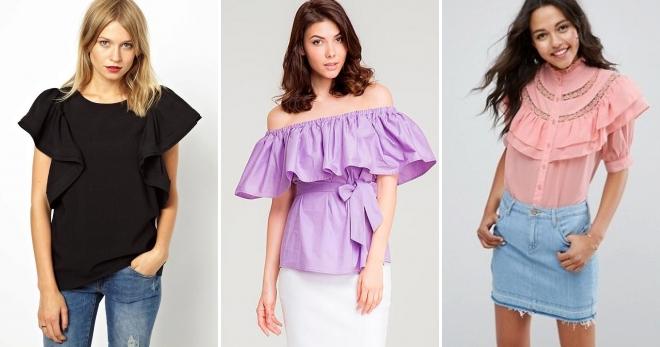 d02ed68099e Блузка с воланами. Самые модные женские блузки 2018-2019 — фото ...