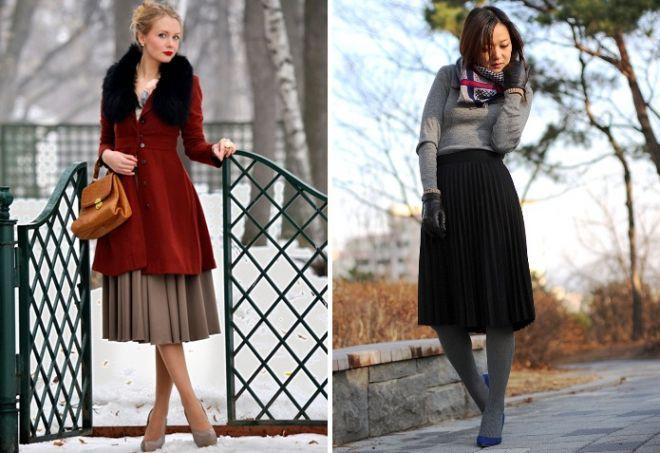 Модная последние пару лет юбка-плиссе из легкой ткани вполне может сгодится для прохладной погоды, если ее дополнить ботфортами чулочного фасона.