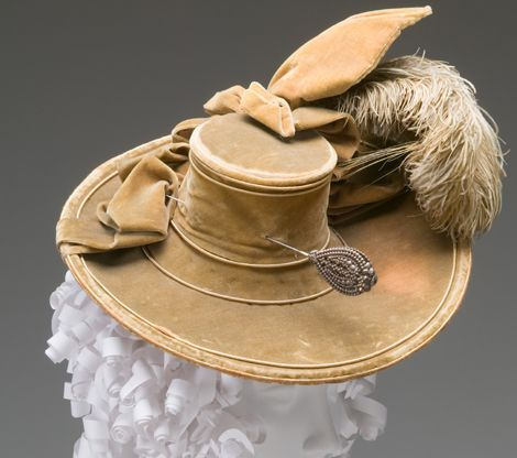 Lady's Hat with Hat Pin, 1770, silk, velvet, ostrich plume, cut steel.