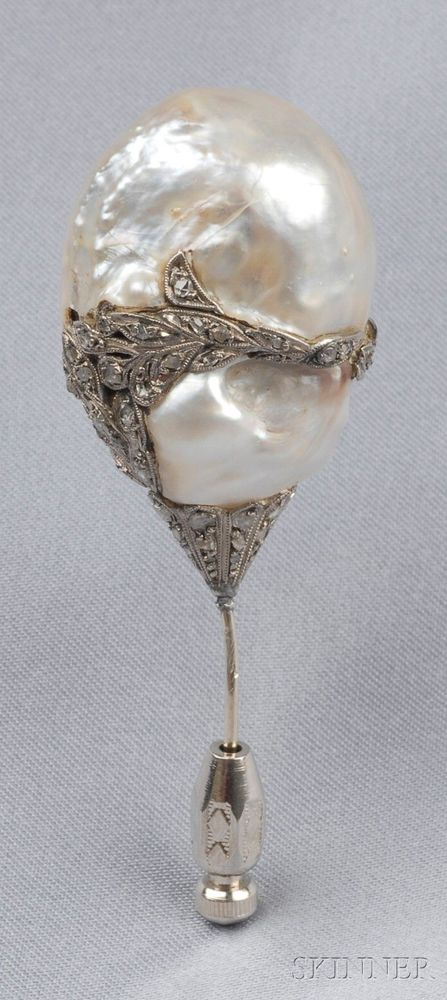Antique Baroque Pearl Ad Diamond Hat Pin Bound By Freeform Rose-Cut Diamond Vines, Millegrain Accents