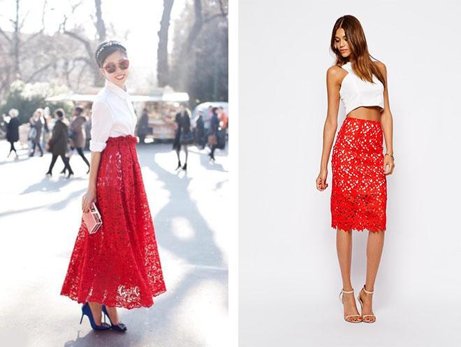0364e025dce Юбка в складку красная. Длинная красная юбка. С чем носить длинную ...