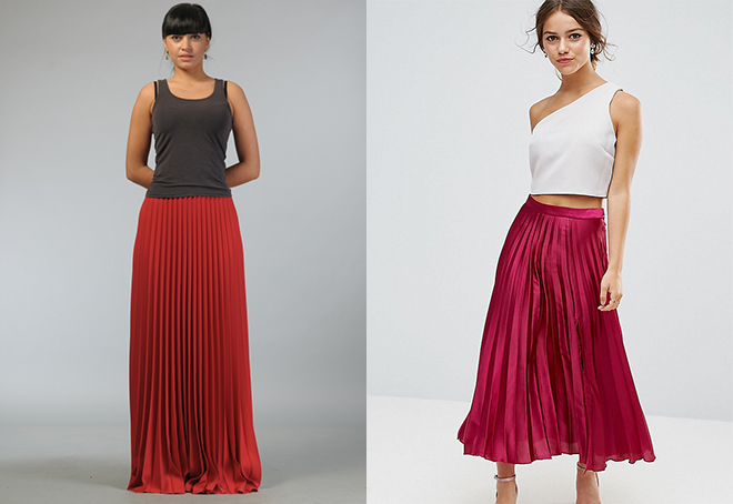 966ebe3d554 Для создания повседневного образа длинную красную юбку плиссе можно  комбинировать с майкой в пастельных тонах и босоножками без каблука.