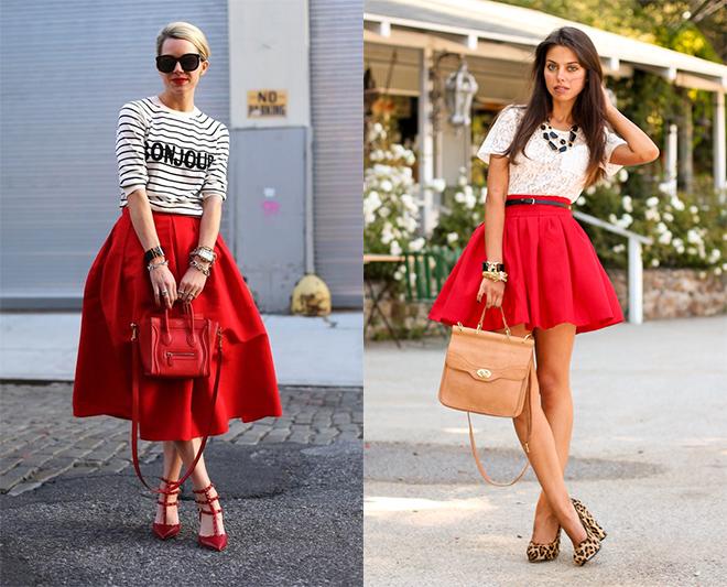 51c4784c70b Юбка в складку красная. Длинная красная юбка. С чем носить длинную ...