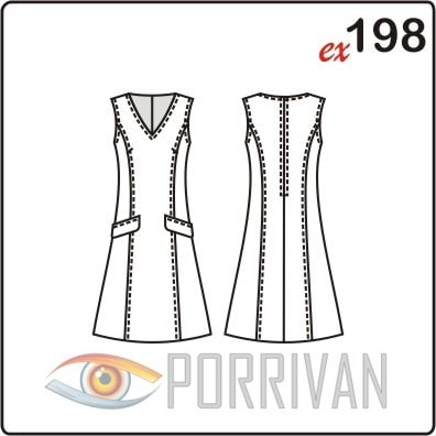 8b02a461fb8 Выкройка прилегающего платья без рукавов с клапанами и рельефами