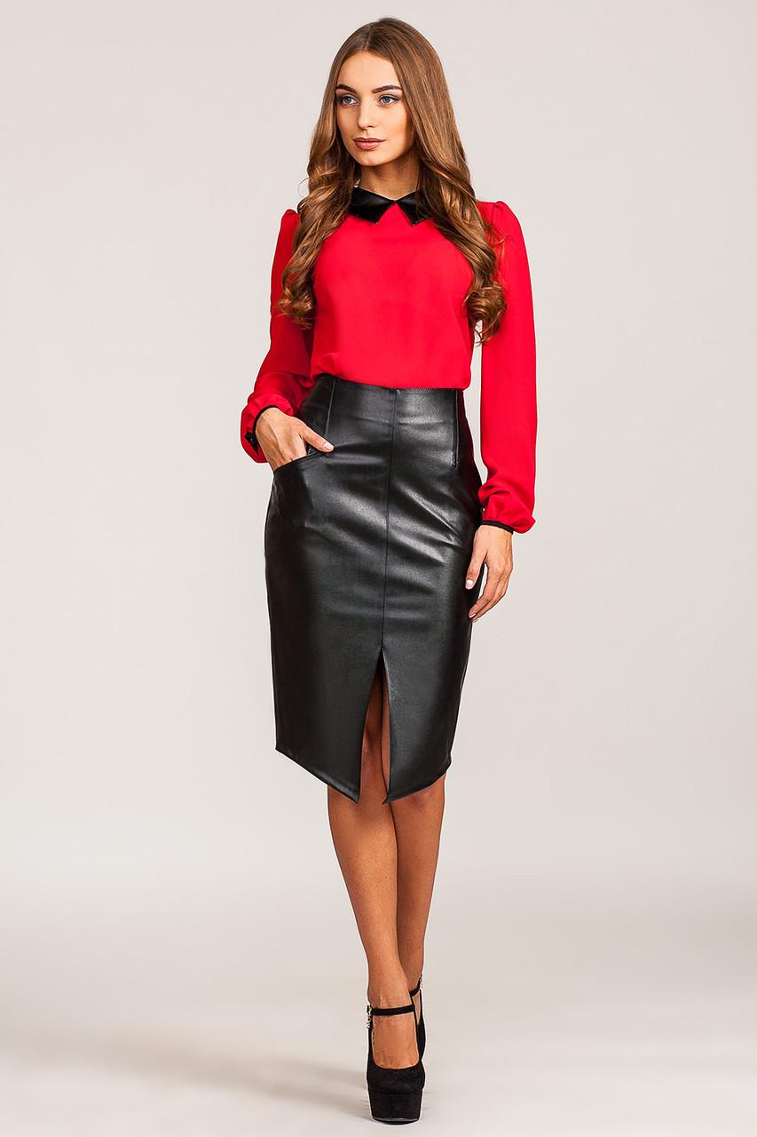 0a980abe025 Прямая юбка с разрезами по бокам гармонично комбинируется со строгими  жакетами