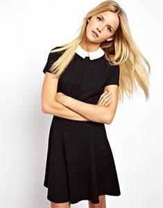 830c787fe92fdf7 Платье с воротником школьное. Back in USSR: черные платья с белыми ...